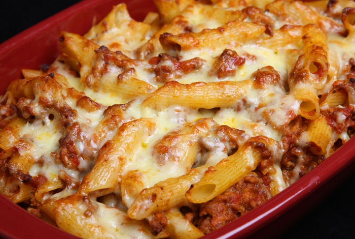 Rustic Farm to Fork-Rigatoni with Meat Sauce Bake