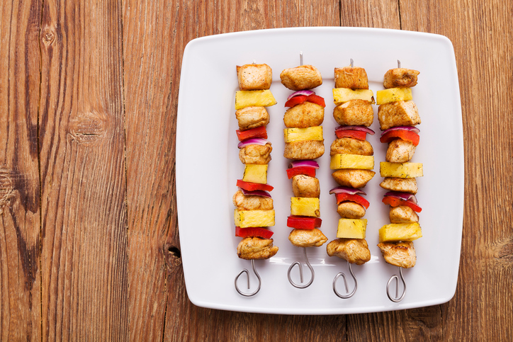 Rustic Farm to Fork-Hawaiian Chicken and Vegetable Skewers