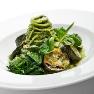 Rustic Farm to Fork-Pesto Vegetables on Zucchini Fettuccini