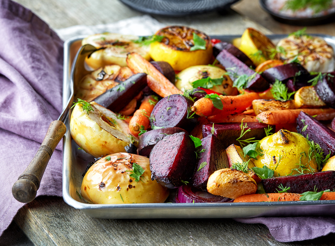 Rustic Farm to Fork-Roasted Vegetables with Sweet Potato