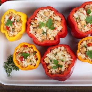 Rustic Farm to Fork-Turkey Stuffed Peppers